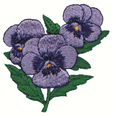 """Embroidery Design: Pansies2.81"""" x 2.80"""""""