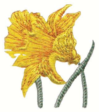"Embroidery Design: Daffodil2.01"" x 2.28"""