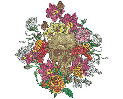 Embroidery Design: Floral Skull Large 7.75w X 8.00h