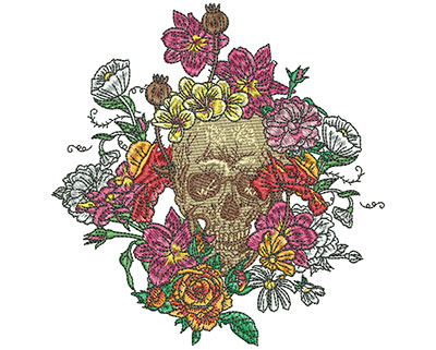 Embroidery Design: Floral Skull Small 4.85w X 5.00h