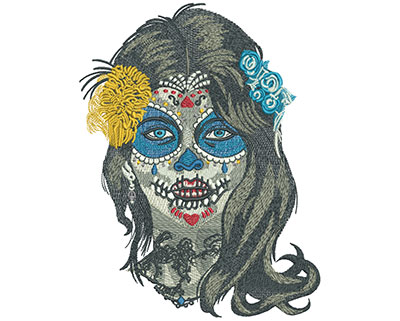 Embroidery Design: Sugar Face Front Lg 6.11w X 7.99h