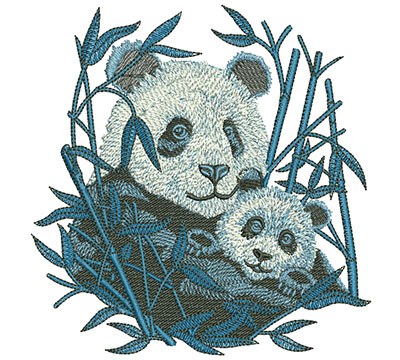 Embroidery Design: Panda And Cub Med 4.85w X 4.99h
