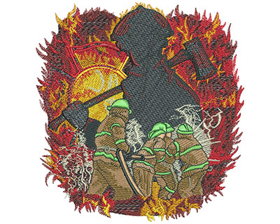 Embroidery Design: Firefighters Fighting Flames Lg 5.69w X 6.02h