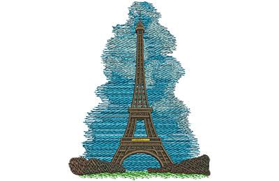 Embroidery Design: Eiffel Tower Lg 4.36w X 5.59h