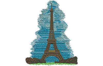 Embroidery Design: Eiffel Tower Med 3.97w X 5.09h