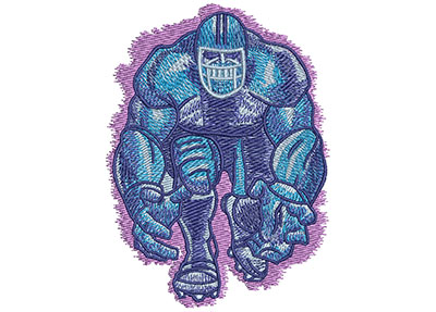 Embroidery Design: Football Player Coming At You Lg 3.13w X 3.99h