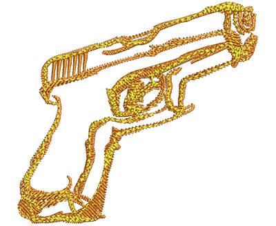 Embroidery Design: Hand Gun Fire Sm 2.50w X 2.31h