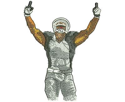 Embroidery Design: Football Arm Raise Lg 3.43w X 4.44h