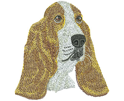 Embroidery Design: Basset Hound Face Lg 3.76w X 3.96h