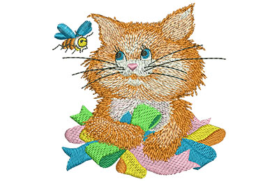 Embroidery Design: Kitty and Bee Lg 3.88w X 3.94h