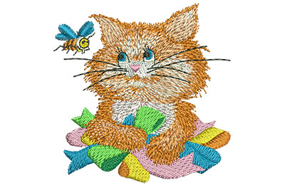 Embroidery Design: Kitty and Bee Sm 2.90w X 2.93h