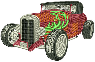 Embroidery Design: Hot Rod With Flames Lg 4.53w X 2.87h