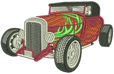 Embroidery Design: Hot Rod With Flames Med 4.03w X 2.55h