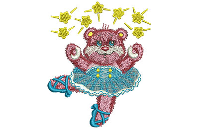 Embroidery Design: Ballet Bear Lg 3.28w X 4.00h