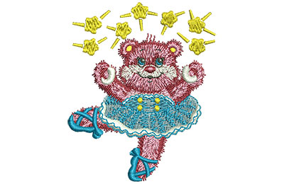 Embroidery Design: Ballet Bear Sm 2.46w X 3.00h