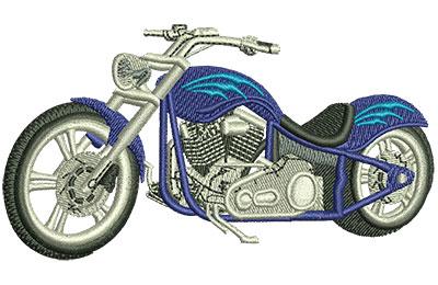 Embroidery Design: Blue Chopper Lg 4.02w X 2.18h