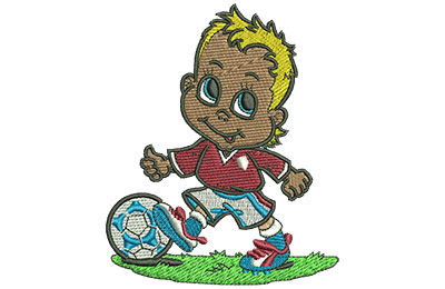 Embroidery Design: Little Soccer Boy Lg 3.31w X 4.00h