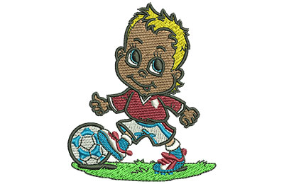 Embroidery Design: Little Soccer Boy Sm 2.48w X 3.00h