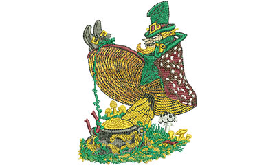 Embroidery Design: Leprechaun On Mushroom Lg 3.28w X 4.52h