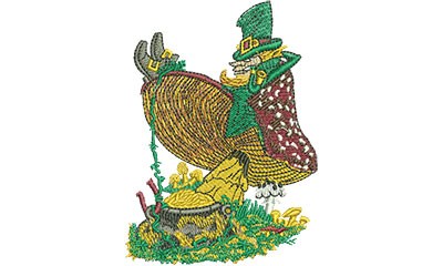 Embroidery Design: Leprechaun On Mushroom Med 2.92w X 4.03h