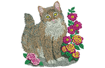 Embroidery Design: Cat And Roses Lg 4.21w X 4.44h