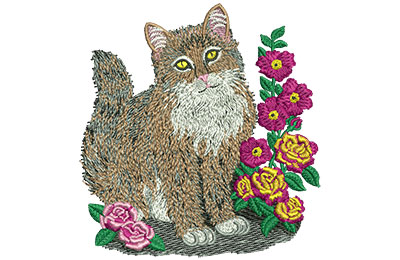 Embroidery Design: Cat And Roses Med 3.75w X 3.95h