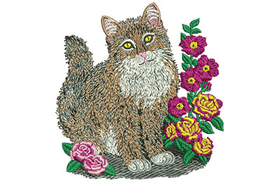 Embroidery Design: Cat And Roses Sm 3.28w X 3.44h
