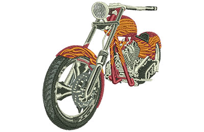 Embroidery Design: Orange Chopper Med 4.02w X 4.37h