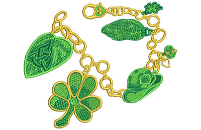 Embroidery Design: Irish Charm Bracelet Lg 4.49w X 3.72h