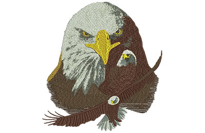 Embroidery Design: Eagle Collage Lg 7.36w X 7.99h