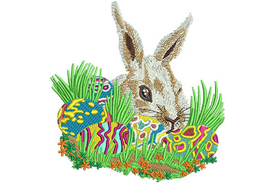 Embroidery Design: Bunny With Easter Eggs Lg 4.25w X 4.49h