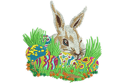 Embroidery Design: Bunny With Easter Eggs med 3.78w X 4.01h