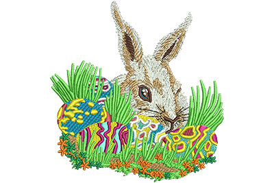Embroidery Design: Bunny With Easter Eggs Sm 3.31w X 3.49h