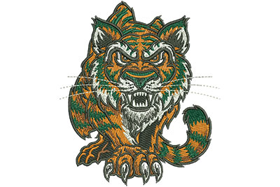 Embroidery Design: Prowling Tiger Lg 3.86w X 4.51h