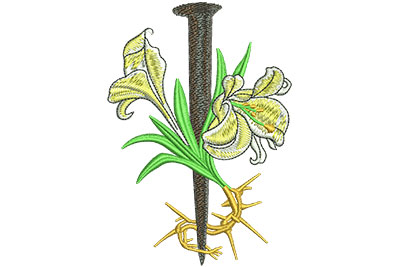 Embroidery Design: Lily With Spike And Thorns Lg 3.08w X 4.46h