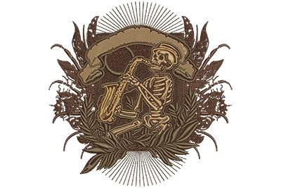 Embroidery Design: Jazz Skeleton Lg 5.97w X 6.14h