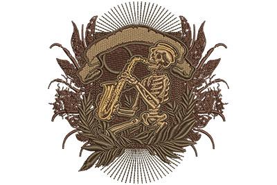 Embroidery Design: Jazz Skeleton Sm4.03w X 4.14h