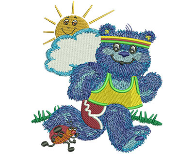 Embroidery Design: Blue Bear Running Lg 3.76w X 4.45h