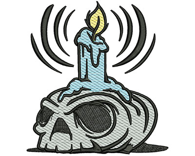 Embroidery Design: Spooky Candle Mylar 4.66w X 5.04h