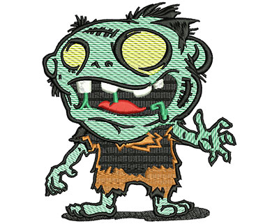 Embroidery Design: Zombie Cartoon Mylar 4.49w X 5.07h
