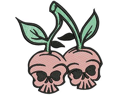 Embroidery Design: Cherry Skulls Mylar4.73w x 5.02h