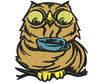 Embroidery Design: Owl Sipping Tea 2.71w X 3.01h
