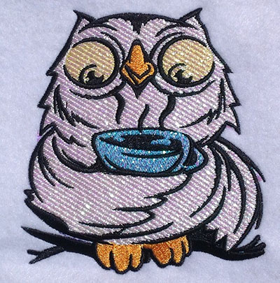 Embroidery Design: Owl Sipping Tea Mylar  4.54w X 5.05h