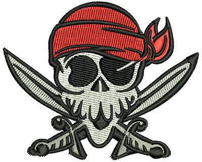 Embroidery Design: Pirate Head 3.00w X 2.44h
