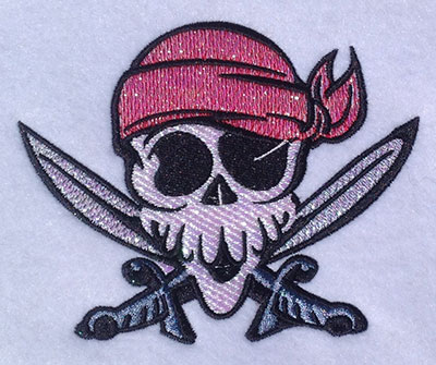 Embroidery Design: Pirate Head Mylar  5.04w X 4.08h