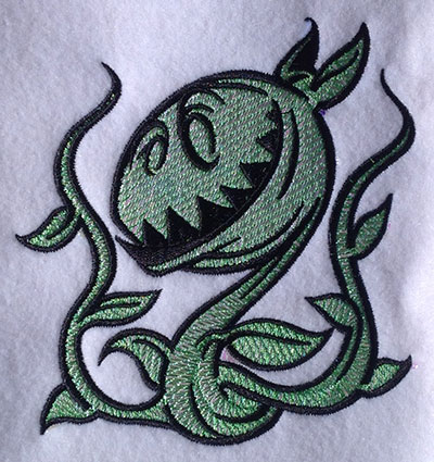 Embroidery Design: Floral Monster Mylar 4.85w X 5.05h