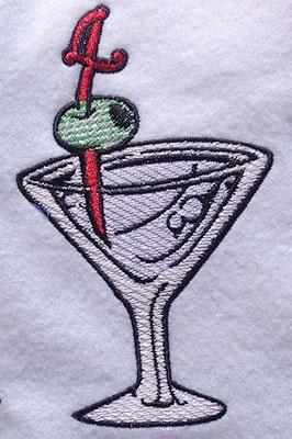 Embroidery Design: Pour Me A Martini Mylar 3.04w X 5.15h