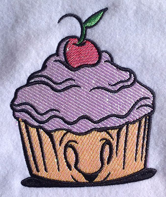 Embroidery Design: Happy Cupcake Mylar 4.15w X 5.07h