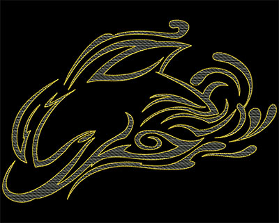 Embroidery Design: Dolphin Full Front 10.32w X 6.90h