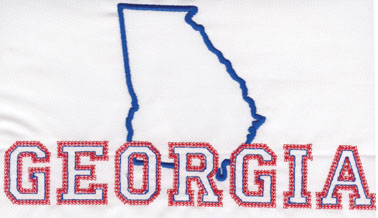 """Embroidery Design: Georgia Outline and Name4.39"""" x 8.02"""""""